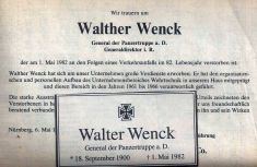 General of the Panzertruppe a. D. Walther Wenck died on May 1, 1982 in his home town of Bad Rothenfelde in the aftermath of a car accident.