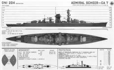 Recognition drawing of a Deutschland-class cruiser.