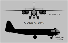 Two-view silhouette of basic Ar 234C design.