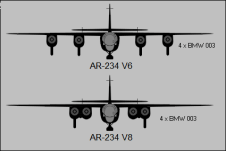 Differences between the pair of four-engined Ar 234 prototype aircraft.
