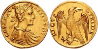 Imperial eagle on a coin of Frederick II (r. 1197–1250).