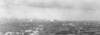 The Final Battle, 27 May 1941. Surrounded by shell splashes, Bismarck burns on the horizon.