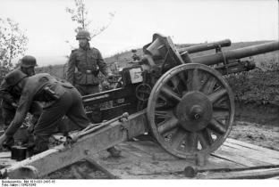 10.5 cm leFH 18 howitzer deployed on the Eastern Front.