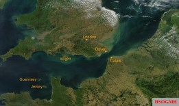 Satellite view of the English Channel.