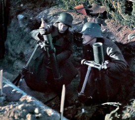 Here, light mortars are shown firing from their protective trenches on the Hanko front.