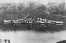 Tirpitz in a Norwegian fjord.