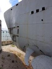 U-534 Forward port side showing hydroplanes & torpedo tubes.
