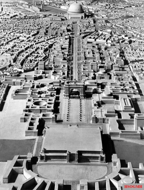 A model of Adolf Hitler's plan for Berlin formulated under the direction of Albert Speer, looking north toward the Volkshalle at the top of the frame.