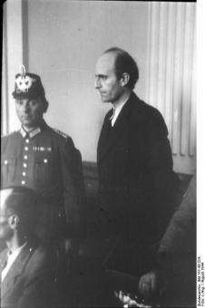 Adam von Trott zu Solz on trial following the 1944 bomb plot to assassinate Hitler.
