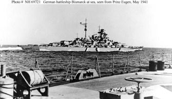 Bismarck from the heavy cruiser Prinz Eugen, May 1941.