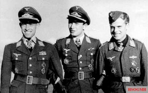 Lieutenant Heinrich Ehrler, Captain Horst Carganico, and Sergeant Rudi Müller in Petsamo, September 4, 1942; Müller was generally popular in the Jagdgeschwader, but with Staffelkapitan Ehrler, who received his Knight's Cross that day, he had a close friendship, as did Albert Brunner.