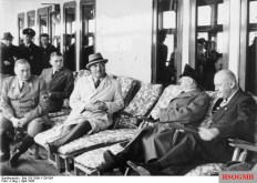 "Wilhelm Brückner (left) 1939 on the KdF flagship ""Robert Ley"" with Adolf Wagner , Adolf Hitler and Robert Ley."
