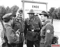 14 August 1961, Erection of the Berlin Wall. GDR borderguards and members of a Combat Groups of the Working Class at the border of the Berlin sector.