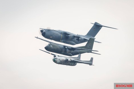Three generations in one fell swoop an A400M; a Transall C160; North Noratlas.