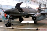 Me 262 A-1a on display at RAF Cosford. Some A-1a aircraft (including this example), like the A-2a bomber variant, attached additional hardpoints for extra weapons near the ejector chutes of the cannons, such as a bomb rack under each side of the nose.