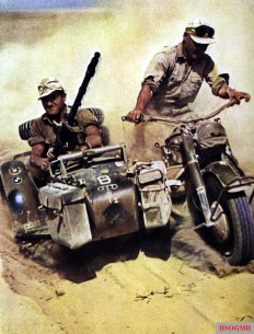 BMW R 75 of DAK (Deutsches Afrikakorps) in the North African desert. Motorcycle showing symbols for 1.(leichte)Batterie / I.Abteilung / Artillerie-Regiment 155 / 21.Panzer-Division also symbol on sidecar mudguard is for motorized infantry.
