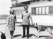 Eva Braun and Hitler (with Blondi), June 1942.