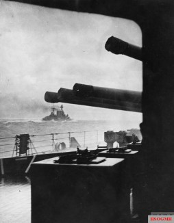 The battlecruiser HMS Hood steaming into battle minutes before she was sunk by the German battleship Bismarck on May 24, 1941.