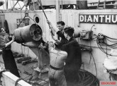 Depth charge being loaded aboard the corvette HMS Dianthus at Londonderry on August 14, 1942.