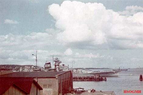 The Tirpitz in Scheerhafen, Kiel in June-August 1941.