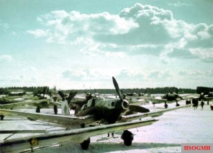 "This photo was taken at Rovaniemi (Finland), one morning in early April 1944. It depicts a Junkers Ju 87 ""Stuka"" D-5 of the 4.Staffel / II.Gruppe / Schlachtgeschwader 1 (SG 1)."