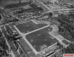 This aerial photo of the Luitpold Arena taken on 25 April 1945 shows bomb craters.