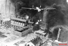 American B-24 Liberator flying over a burning oil refinery at Ploiești, as part of Operation Tidal Wave on 1 August 1943. Due to its role as a major supplier of oil to the Axis, Romania was a prime target of Allied strategic bombing in 1943 and 1944.