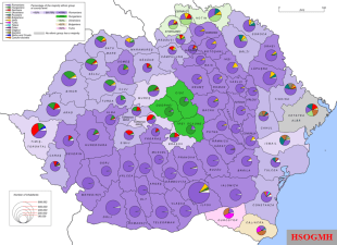 Ethnic map of Greater Romania according to the 1930 census. Sizeable ethnic minorities put Romania at odds with Hungary, Bulgaria and the Soviet Union throughout the interwar period.
