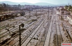 A picture of complete destruction offered at this freight station in Florence after an Allied air raid in August 1944. Photo by Walter Hollnagel.