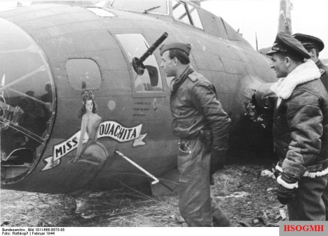 Bär inspecting his 184th aerial victory, a Boeing B-17F of 91st Bomb Group on 21 February 1944. His wingman Leo Schuhmacher is standing to his right.