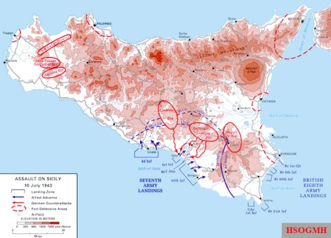 A map of the Allied army amphibious landing in Sicily, 10 July 1943, as part of Operation Husky.