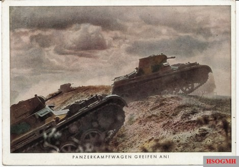 """Nice color image of Panzer I's advance during prewar training. Three-color prewar camouflage scheme can be seen to good advantage. No writing on reverse of this postcard which was printed and distributed by the periodical """"Die Wehrmacht""""."""