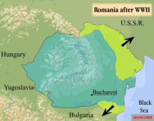 Map of Romania after World War II indicating lost territories.