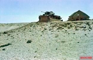 A lone Panzerkampfwagen III in the African desert, 1941.