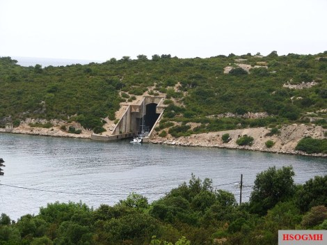 Entrance to submarine pen on Vis, Croatia.