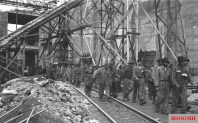 Forced workers at the construction site of the Valentin submarine pens in Bremen, 1944.