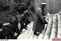 Paul Hausser (far right, in overcoat) walking up the Stairs of Death at the Mauthausen-Gusen concentration camp, June 1941.