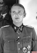 The Danish Knight's Cross winner SS-Obersturmführer Søren Kam photographed after the presentation of the award. Kam, a veteran of the Wiking Division, won the Knight's Cross for bravery during the Wiking's battles in Poland's 'Wet Triangle' in front of Warsaw and was personally presented by Hitler in February 1945, thus becoming one of the three Danes to receive this award.
