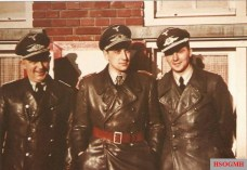 Officers from Nachtjagdgeschwader 1 (NJG 1) at Venlo, Holland, Spring 1941. FLTR: Nachtflugleiter Hauptmann G. Hitgen (Fluglotse a.k.a. air traffic controller), Hauptmann Werner Streib (Staffelkapitän 2./NJG 1), and Leutnant Hans-Dieter Frank (Flugzeugführer at 2./NJG 1). They're wearing ledermantel M1936.