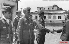 7 July 1942: Eisernes Kreuz II.Klasse award ceremony for the celebrated members of 15.(Spanische)Staffel, awarded by General der Flieger Robert Ritter von Greim (Oberbefehl über das Luftwaffenkommando Ost). The recipients, from left to right: Oberleutnant Federico Garret-Rueda, Hauptmann Bengoechea Menchaca, and Oberleutnant Emilio Barañano (Baraño).