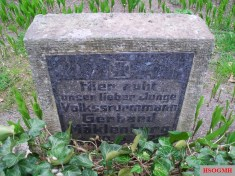Gravestone of a young Volkssturmmann in Berlin, killed in action on April 30, 1945.