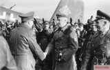 Von Manstein greeting Hitler. On the right are Hans Baur and Richthofen.