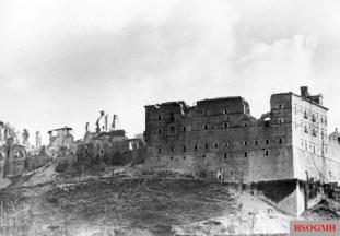 Monte Cassino in ruins.