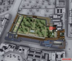 3D model of New Reichs Chancellery with location of bunker complex in red.