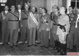 Richthofen (far left) with Walther von Brauchitsch (centre) and Franz Halder (over Brauchitsch's left shoulder), 7 June 1939.