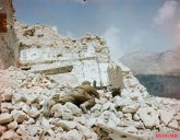 British soldier with a Bren gun in the ruins of Monte Cassino.