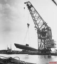 Type XVIIB boat (probably U-1406 or U-1407) in August, 1945.