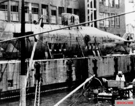 Type XVIIB submarine U-1406, partially dismantled shortly after the end of World War II.