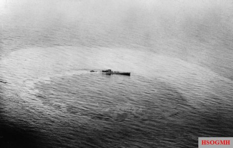 U-459 sinking after being attacked by Vickers Wellington aircraft.