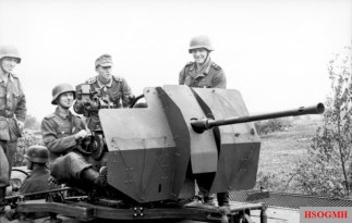 A Flak 38 mounted on a vehicle, Russia June 1943. Among the crew is Josef Niemietz wearing the Knights Cross of the Iron Cross.